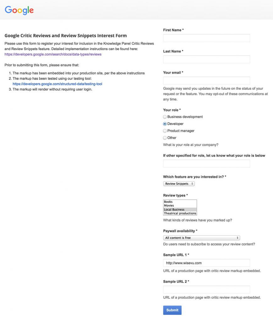 google star rating review snippets interest form