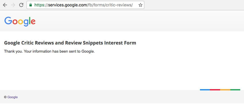 google-review-snippets-interest-form-thank-you-page