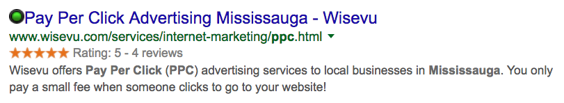 google star rating review snippet ppc Mississauga