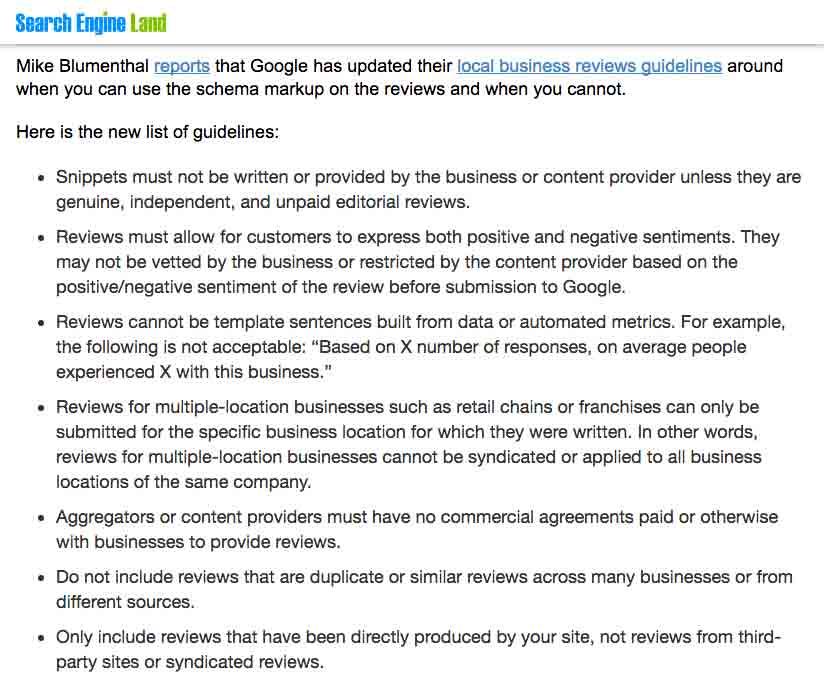 Grouped Google Review Guidelines Search Engine Land