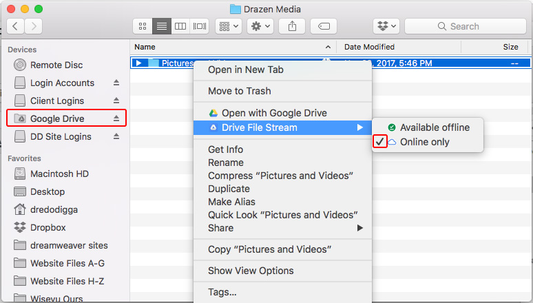 google file stream syncing online only files folders