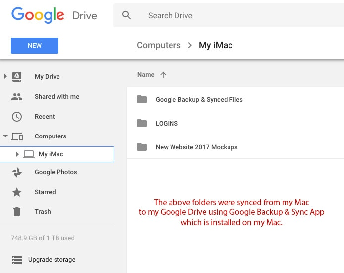 Synced Files from My Computer on Google Drive