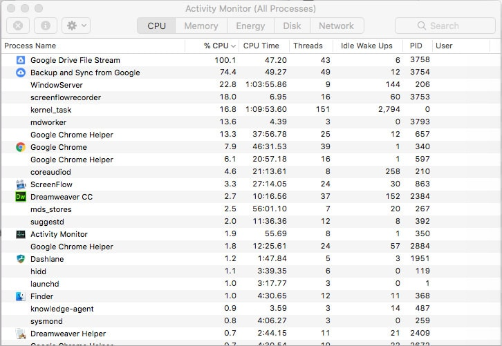 Google file stream eating up CPU and RAM