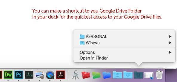 Google File Stream Access Point through the Dock