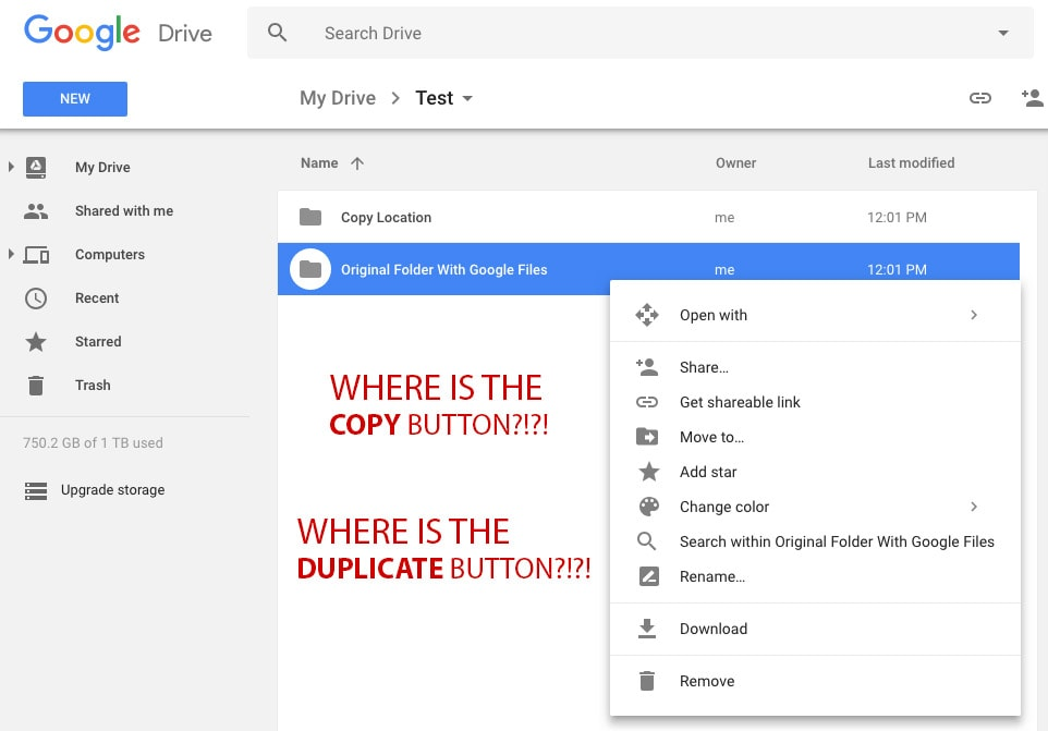 No Copy or Duplicate Button For Google Folders or Files