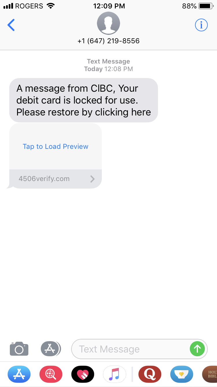 Text Message phishing attack