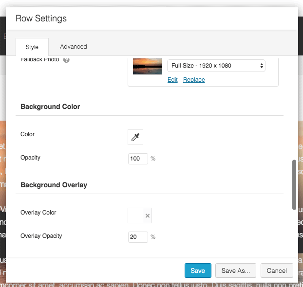 Beaver Builder Row settings