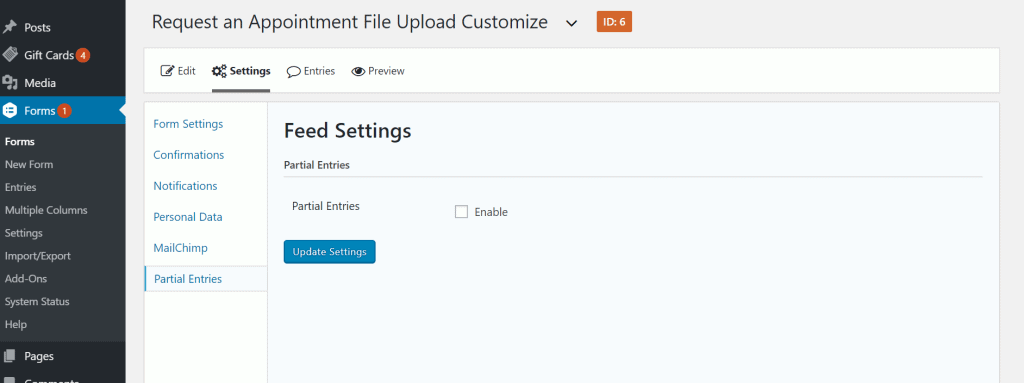 Enable Partial Entries Add-on