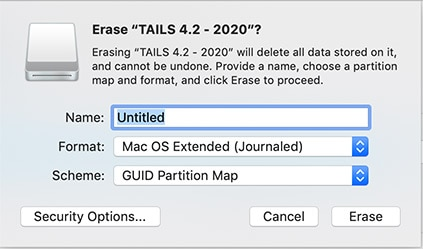 Format USB Drive for Mac OS to install Tails OS