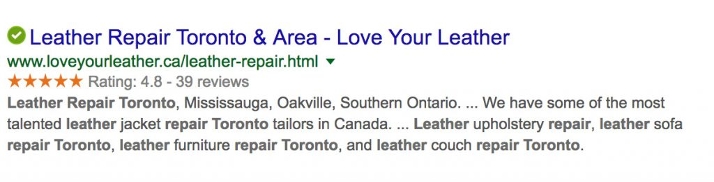 Google schema rich snippets leather repair